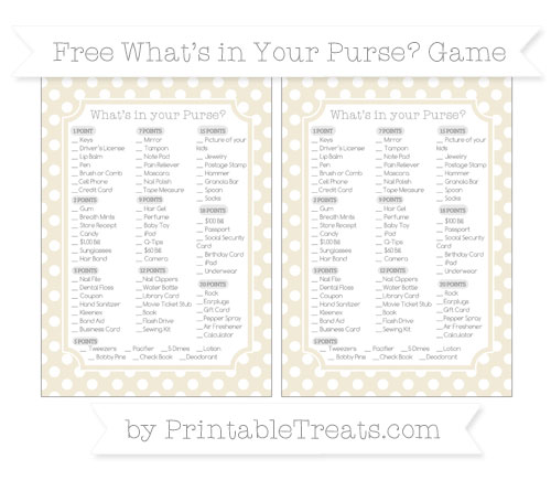 Free Eggshell Polka Dot What's in Your Purse Baby Shower Game