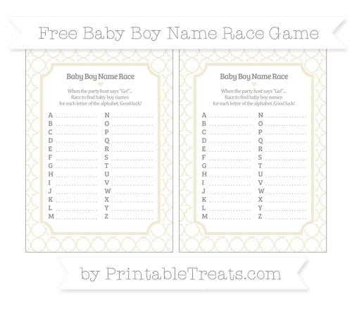 Free Eggshell Quatrefoil Pattern Baby Boy Name Race Game