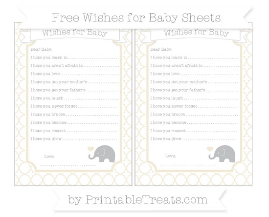 Free Eggshell Quatrefoil Pattern Baby Elephant Wishes for Baby Sheets