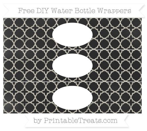 Free Eggshell Quatrefoil Pattern Chalk Style DIY Water Bottle Wrappers