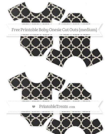 Free Eggshell Quatrefoil Pattern Chalk Style Medium Baby Onesie Cut Outs