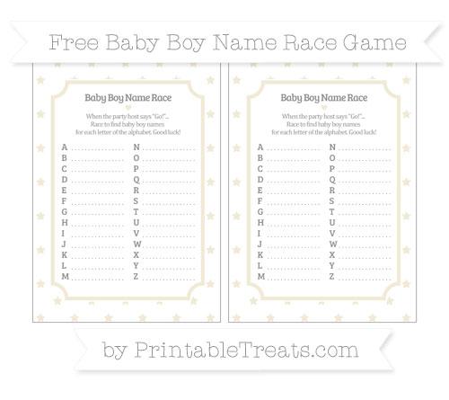 Free Eggshell Star Pattern Baby Boy Name Race Game