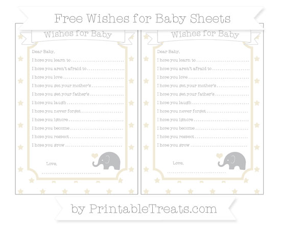 Free Eggshell Star Pattern Baby Elephant Wishes for Baby Sheets