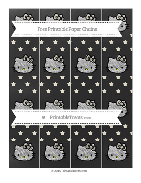 Free Eggshell Star Pattern Chalk Style Hello Kitty Paper Chains