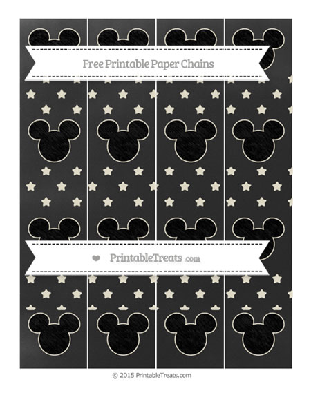 Free Eggshell Star Pattern Chalk Style Mickey Mouse Paper Chains