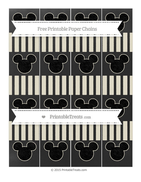 Free Eggshell Striped Chalk Style Mickey Mouse Paper Chains