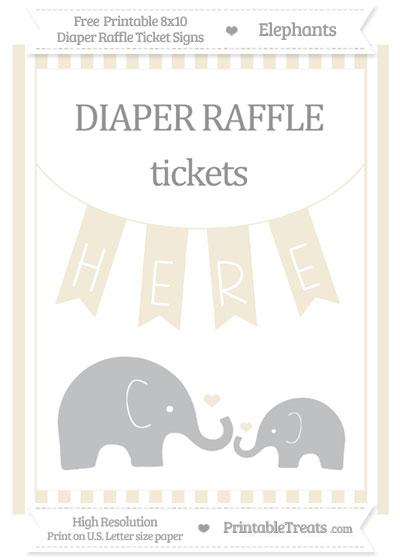 Free Eggshell Striped Elephant 8x10 Diaper Raffle Ticket Sign