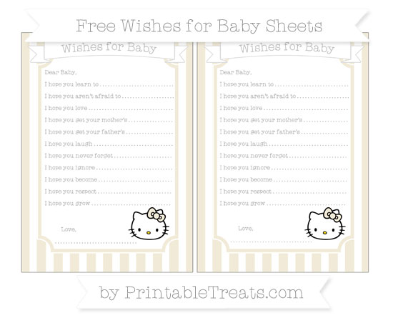 Free Eggshell Striped Hello Kitty Wishes for Baby Sheets