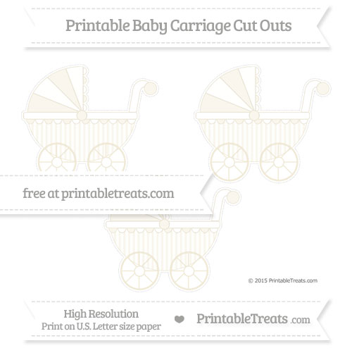 Free Eggshell Striped Medium Baby Carriage Cut Outs