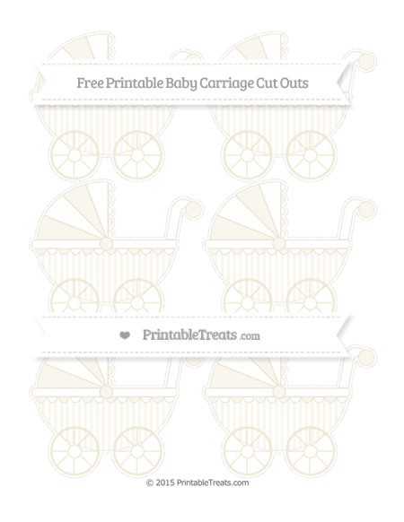 Free Eggshell Striped Small Baby Carriage Cut Outs