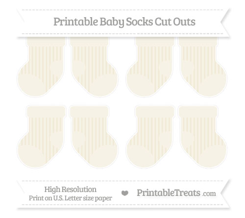 Free Eggshell Striped Small Baby Socks Cut Outs