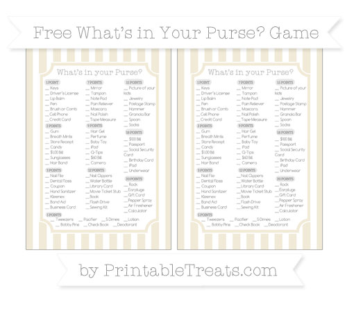Free Eggshell Striped What's in Your Purse Baby Shower Game