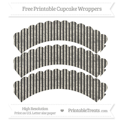 Free Eggshell Thin Striped Pattern Chalk Style Scalloped Cupcake Wrappers
