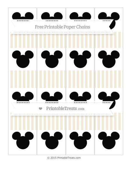 Free Eggshell Thin Striped Pattern Mickey Mouse Paper Chains