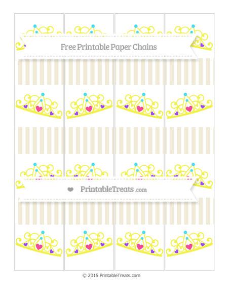Free Eggshell Thin Striped Pattern Princess Tiara Paper Chains