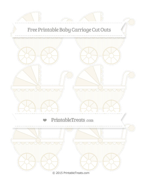 Free Eggshell Thin Striped Pattern Small Baby Carriage Cut Outs
