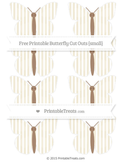 Free Eggshell Thin Striped Pattern Small Butterfly Cut Outs