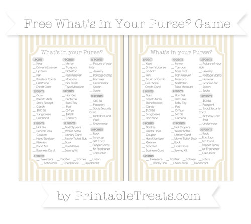 Free Eggshell Thin Striped Pattern What's in Your Purse Baby Shower Game