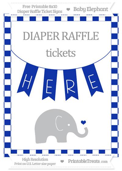 Free Egyptian Blue Checker Pattern Baby Elephant 8x10 Diaper Raffle Ticket Sign