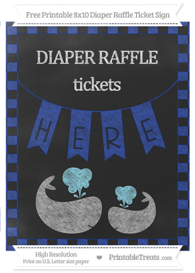 Free Egyptian Blue Checker Pattern Chalk Style Baby Whale 8x10 Diaper Raffle Ticket Sign