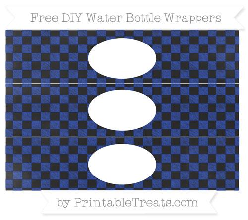 Free Egyptian Blue Checker Pattern Chalk Style DIY Water Bottle Wrappers