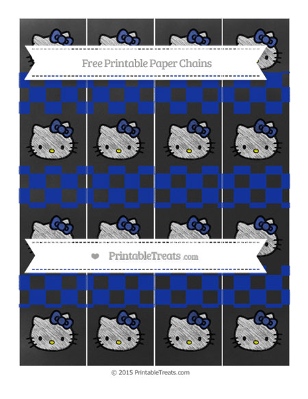 Free Egyptian Blue Checker Pattern Chalk Style Hello Kitty Paper Chains