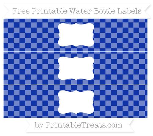 Free Egyptian Blue Checker Pattern Water Bottle Labels