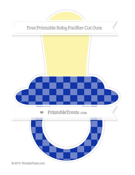 Free Egyptian Blue Checker Pattern Extra Large Baby Pacifier Cut Outs