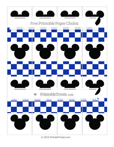 Free Egyptian Blue Checker Pattern Mickey Mouse Paper Chains