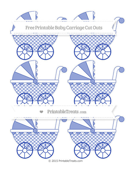 Free Egyptian Blue Checker Pattern Small Baby Carriage Cut Outs