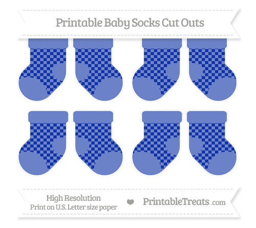 Free Egyptian Blue Checker Pattern Small Baby Socks Cut Outs