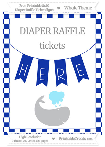 Free Egyptian Blue Checker Pattern Whale 8x10 Diaper Raffle Ticket Sign