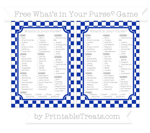 Free Egyptian Blue Checker Pattern What's in Your Purse Baby Shower Game