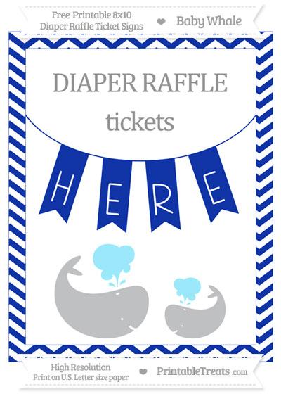 Free Egyptian Blue Chevron Baby Whale 8x10 Diaper Raffle Ticket Sign