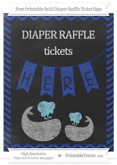 Free Egyptian Blue Chevron Chalk Style Baby Whale 8x10 Diaper Raffle Ticket Sign