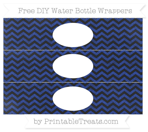 Free Egyptian Blue Chevron Chalk Style DIY Water Bottle Wrappers