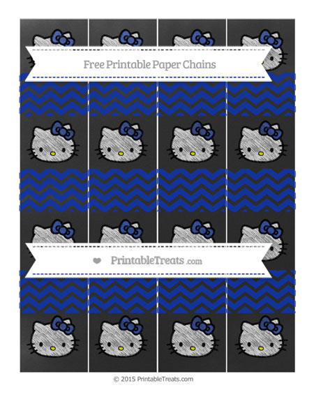 Free Egyptian Blue Chevron Chalk Style Hello Kitty Paper Chains
