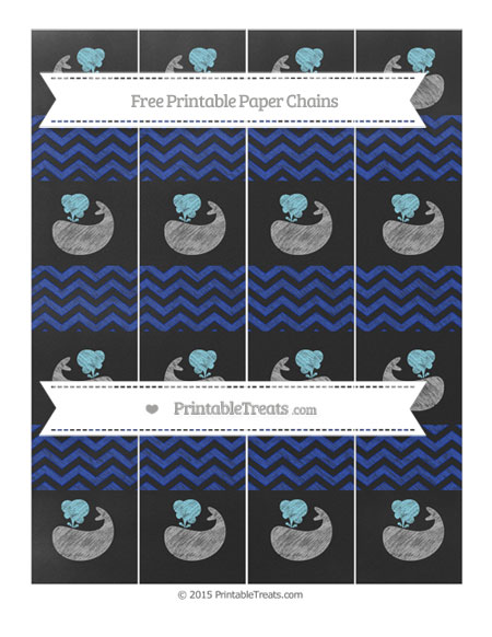 Free Egyptian Blue Chevron Chalk Style Whale Paper Chains
