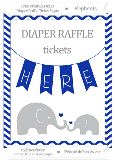 Free Egyptian Blue Chevron Elephant 8x10 Diaper Raffle Ticket Sign