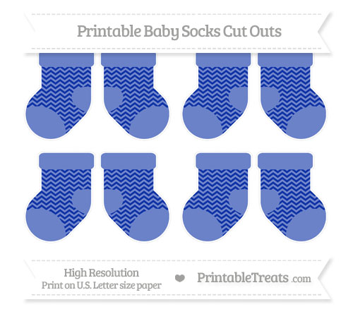 Free Egyptian Blue Chevron Small Baby Socks Cut Outs