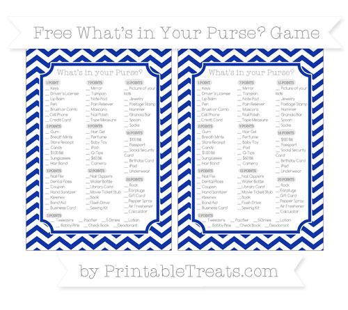 Free Egyptian Blue Chevron What's in Your Purse Baby Shower Game