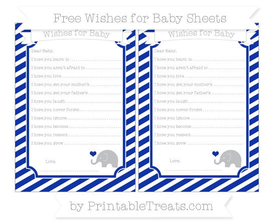 Free Egyptian Blue Diagonal Striped Baby Elephant Wishes for Baby Sheets