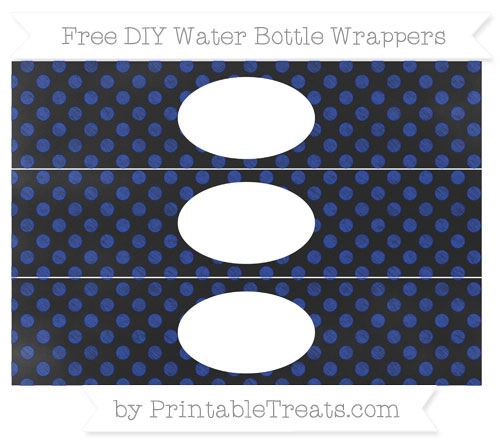 Free Egyptian Blue Dotted Pattern Chalk Style DIY Water Bottle Wrappers
