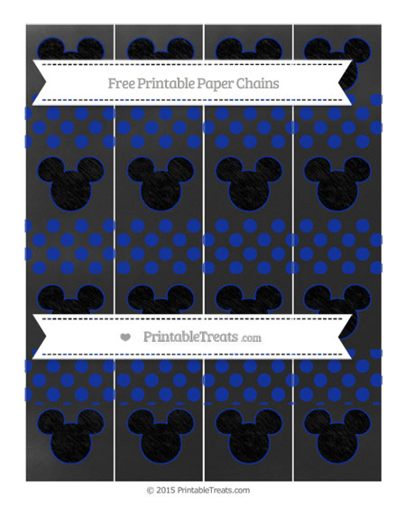 Free Egyptian Blue Dotted Pattern Chalk Style Mickey Mouse Paper Chains