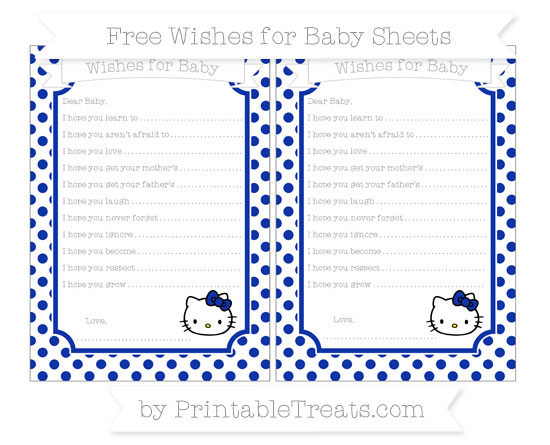 Free Egyptian Blue Dotted Pattern Hello Kitty Wishes for Baby Sheets