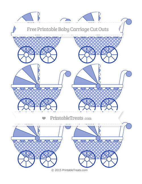 Free Egyptian Blue Dotted Pattern Small Baby Carriage Cut Outs