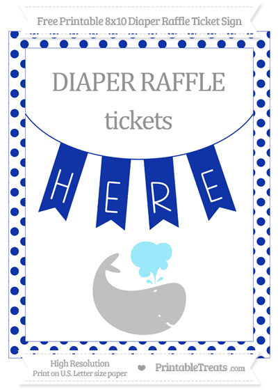 Free Egyptian Blue Dotted Whale 8x10 Diaper Raffle Ticket Sign