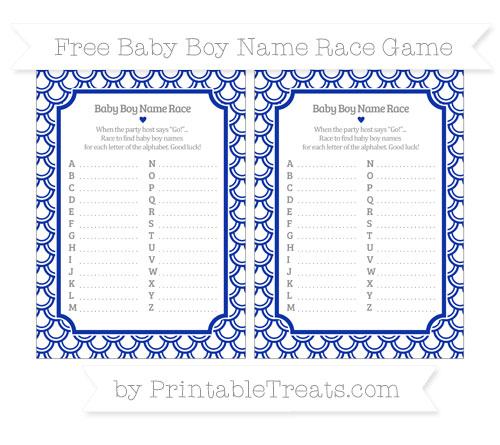 Free Egyptian Blue Fish Scale Pattern Baby Boy Name Race Game