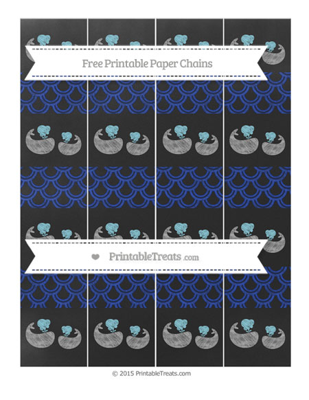 Free Egyptian Blue Fish Scale Pattern Chalk Style Baby Whale Paper Chains