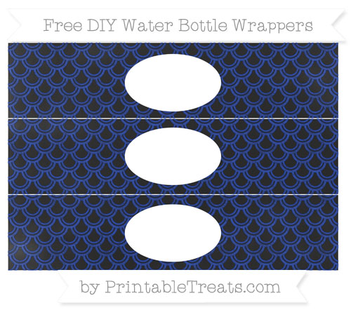 Free Egyptian Blue Fish Scale Pattern Chalk Style DIY Water Bottle Wrappers